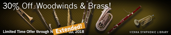 Banner VSL 30% OFF Woodwinds and Brass Libraries