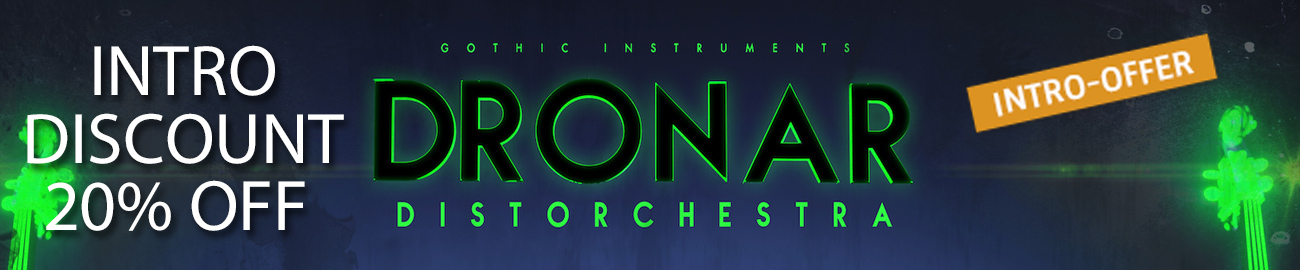 Banner Gothic Instruments Dronar Distorchestra Intro Offer