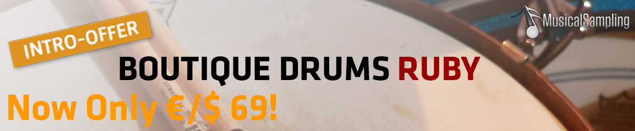Banner Musical Sampling - Boutique Drums Ruby Intro Offer